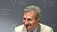 EU-Kommissar Günther Oettinger hört 2019 in Brüssel auf.