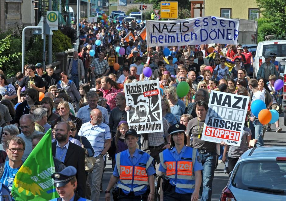 Demonstration gegen Nazis in Meiningen in Thüringen