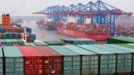 Viel Betrieb im Hamburger Hafen: Die Exporte sollen angesichts der besseren Weltkonjunktur stärker wachsen als im vergangenen Jahr.