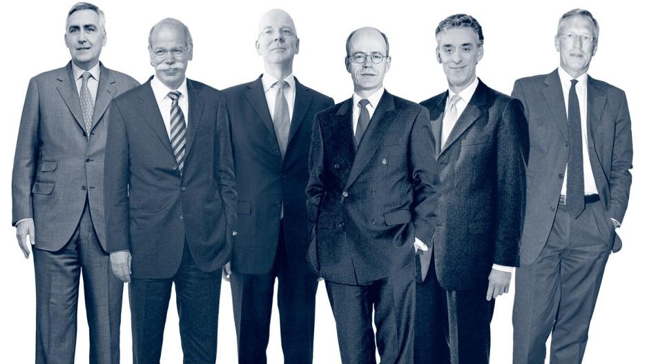 Groß und sportlich: Siemens-Chef Peter Löscher (von links), Daimler Boss Dieter Zetsche, CoBa-Chef Martin Blessing, Nikolaus von Bomhard, Munich Re, der Chef der Deutschen Post Frank Appel und Allianz-Chef Michael Diekmann