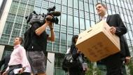 Angestellte der Investmentbank Lehman Brothers räumen im September 2008 ihre Büros aus.