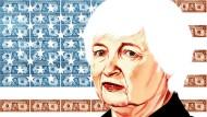 Gezeichnet: Notenbankchefin Janet Yellen vor einer amerikanischen Flagge aus Geldscheinen.