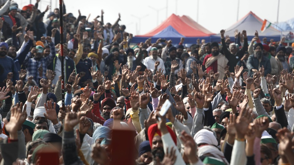 Indische Bauern protestierten in Neu Delhi am Jahresanfang gegen neue Landwirtschaftsgesetze.