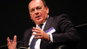Chairman of Swiss bank UBS Weber gestures during the Capital Market Forum in Zurich