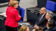 Angela Merkel und Martin Schulz im November im Bundestag