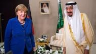 Angela Merkel und der saudische König Salman ibn Abd al-Aziz Al Saud beim G-20-Gipfel im türkischen Belek im November 2015