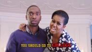 Michelle Obama (rechts) mit Jay Pharoah