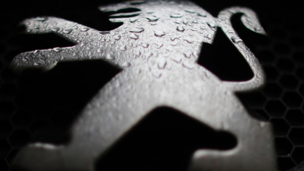 Raindrops are seen on a Peugeot car parked in Paris