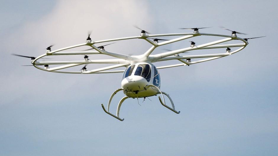 Abgehoben: ein Volocopter im Anflug