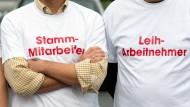 Protestaktion bei Mercedes: Für eine bessere Behandlung der Leiharbeitnehmer.