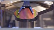 Ein pizzagroßer Silizium-Wafer für die Herstellung von Computerchips im Infineon-Werk in Dresden