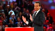 Österreichs Kanzler Christian Kern stellt in der Stadt Wels vor, wie er das Land voranbringen will wirtschaftlich.