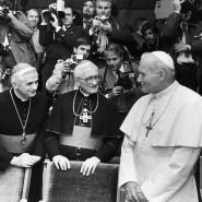 Joseph Höffner mit Joseph Ratzinger und Papst Johannes Paul II.