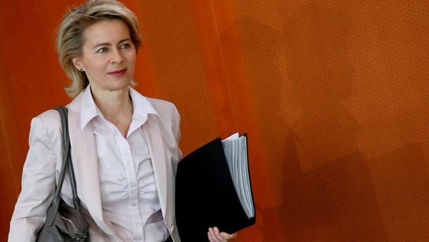 German Labour Minister von der Leyen arrives to the weekly cabinet meeting in Berlin