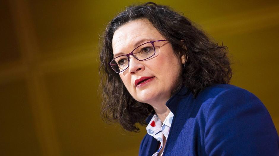 Die SPD-Vorstandsvorsitzende Andrea Nahles im Willy-Brandt-Haus