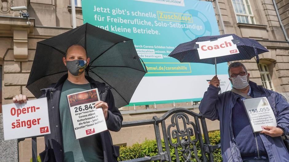Freiberufler während einer Protestaktion in Berlin