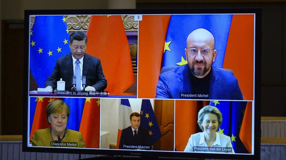 Beschlossen per Videokonferenz: Der chinesische Staats- und Parteichef Xi Jinping bespricht das Abkommen mit den Spitzen der EU.