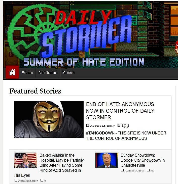 """Screenshot des """"Daily Stormer"""" am Montag"""