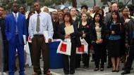 Stellenbörse in den Vereinigten Staaten: Auf dem Arbeitsmarkt sieht es überraschend gut aus.