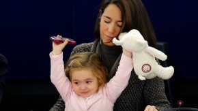 Member of the European Parliament Ronzulli of Italy takes part with her daughter Vittoria in a voting session at the European Parliament in Strasbourg
