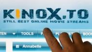 Startseite der Internetplattform Kinox.to.