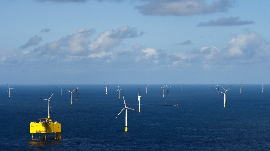 """Ähnlich im Aussehen, aber kleiner als das Projekt von BASF und Vattenfall: Offshore-Windpark """"DanTysk"""" in der Nordsee."""