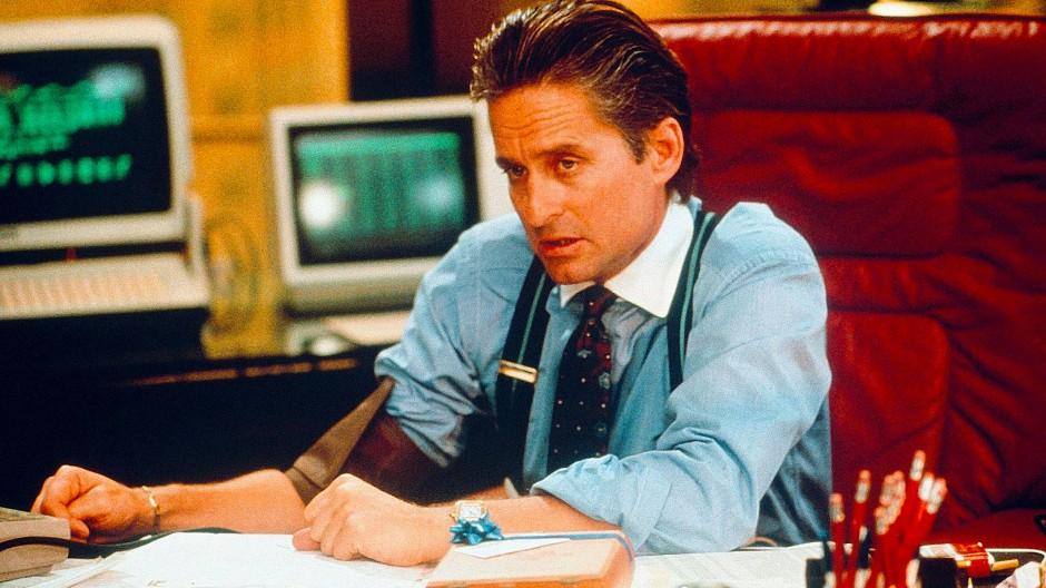 """Der Finanzhai Gordon Gekko (Michael Douglas) im Film """"Wall Street"""" verkörpert die Gier wie kaum ein Zweiter."""