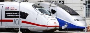 Einträchtig nebeneinander: ICE und TGV im Gare de  l'Est in Paris.