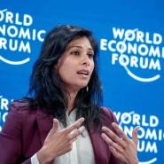 Die IWF-Chefökonomin Gita Gopinath während ihres Auftritts auf dem Weltwirtschaftsforums in Davos