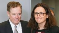 EU-Handelskommissarin Cecilia Malmström und der amerikanische Handelsbeauftragte Robert Lighthizer