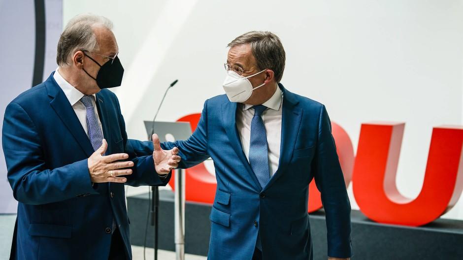 Am Tag nach dem Wahlsieg: Reiner Haseloff und Armin Laschet im Konrad-Adenauer-Haus in Berlin
