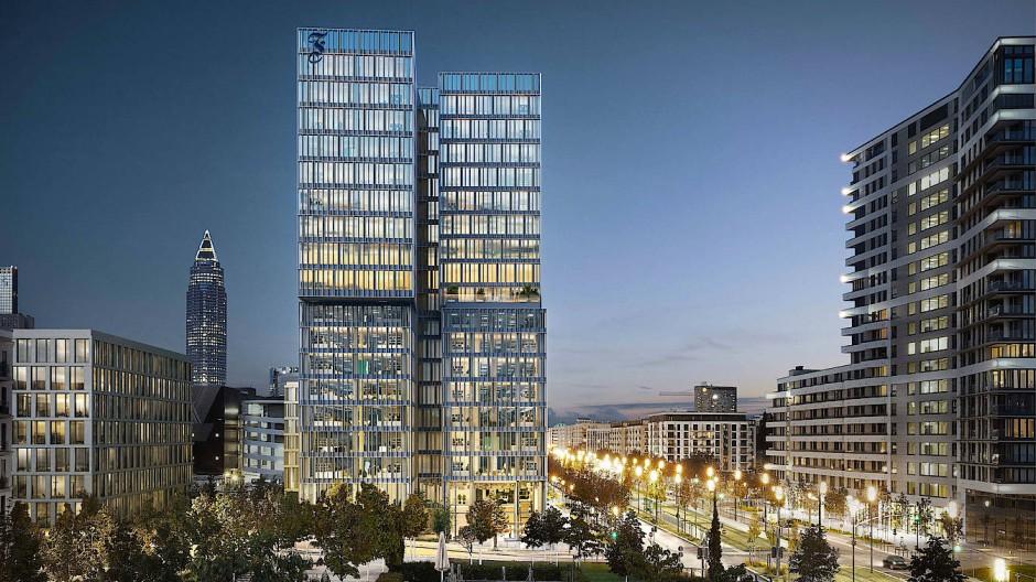 """So wird der """"F.A.Z.-Tower"""" im Frankfurter Europaviertel einmal aussehen. Die Arbeiten auf der Baustelle gehen planmäßig voran. Im Laufe des kommenden Jahres wird die Zeitung ihr neues Zuhause beziehen."""