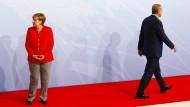 Bundeskanzlerin Merkel und der türkische Staatspräsident Erdogan im Juli in Hamburg