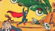 So sieht es aus, das erste Superman-Comic-Heft-Cover aus dem Jahr 1938.