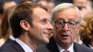 Der französische Präsident Emmanuel Macron und der EU-Kommissionspräsident Jean-Claude Juncker.
