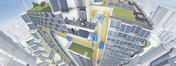 Die Kabinen können auch waagrecht verschoben werden. Die Illustration zeigt, wie sich Thyssen-Krupp die Aufzüge als eine Art Nahverkehrssystem für Hochhäuser vorstellt.