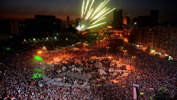 Egyptians react to army announcement in Tahrir square