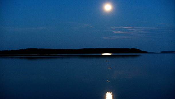 Moonlight over Water Lulea Sweden.
