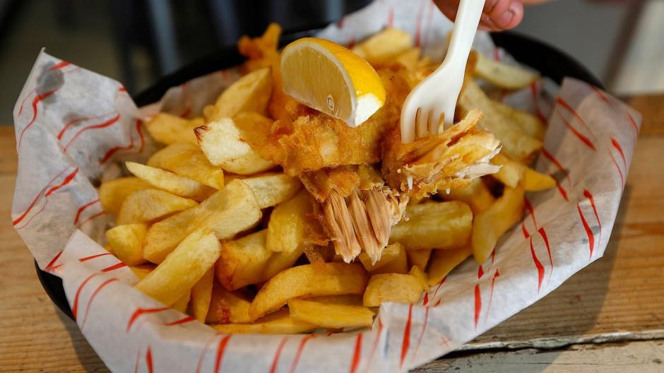 Sieht aus wie Fish and Chips, Fish ist aber keiner drin: Veganes Gericht aus einem Restaurant in London