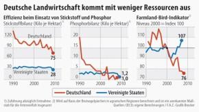Infografik / Deutsche Landwirtschaft kommt mit weniger Ressourcen aus / Effizienz