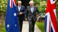 Boris Johnson (rechts) und sein australischer Amtskollege Scott Morrison