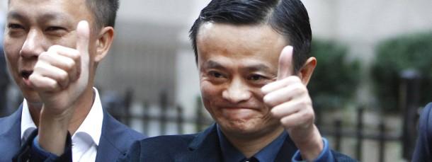 Alibaba-Gründer Jack Ma an der New Yorker Börse kurz vor dem Börsendebut