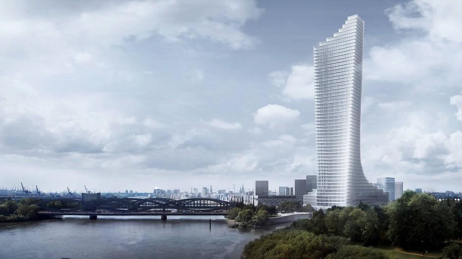 Der 245 Meter hohe Elbtower, entworfen von Chipperfield Architects, soll bis 2025 am östlichen Ende der Hamburger Hafencity entstehen.