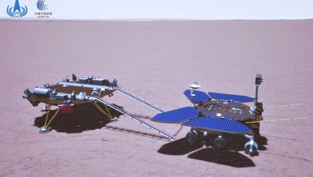 Chinas Zhurong-Rover fährt jetzt auf dem Mars