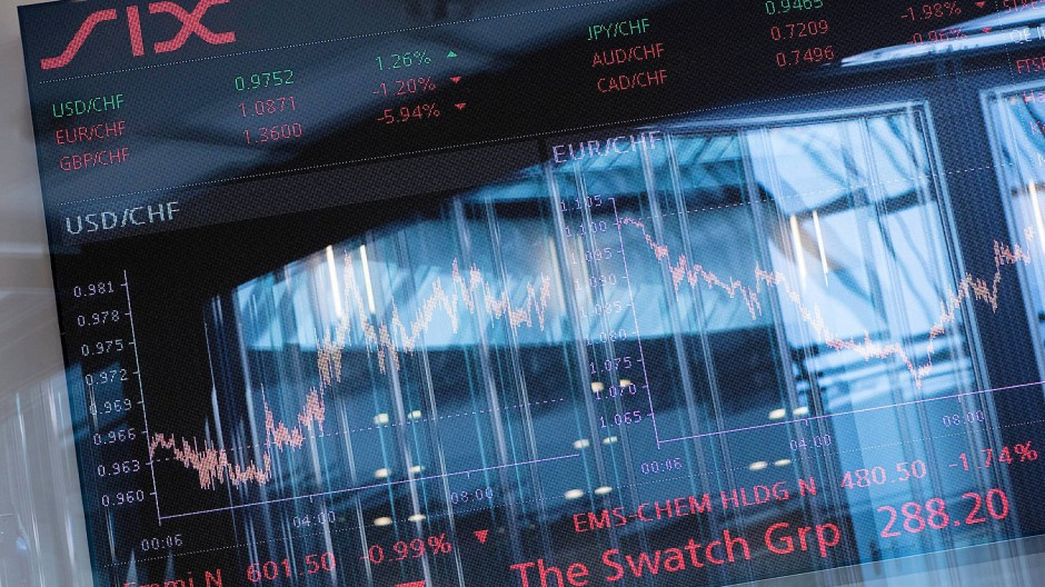 Bildschirm mit Indizes der Schweizer Börse