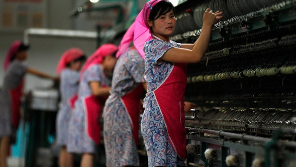 File photo of women working in Kim Jong-suk Pyongyang Silk Mill in Pyongyang
