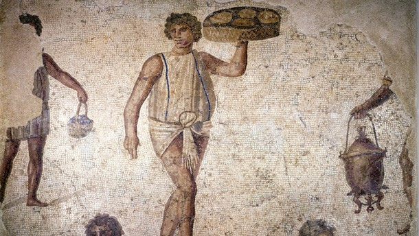 Servants or slaves making preparations for a feast, mosaic, Carthage, 2nd century.
