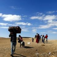 Syrer auf der Flucht in die Türkei