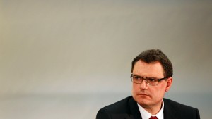 SNB Vice-Chairman Jordan looks on during a news conference after the resignation of SNB Chairman Hildebrand, in Bern