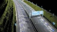 Die HERE HD-Karte erfasst Milliarden von 3D-Punkten, um damit ein virtuelles Modell der Fahrbahnoberfläche zu entwickeln.